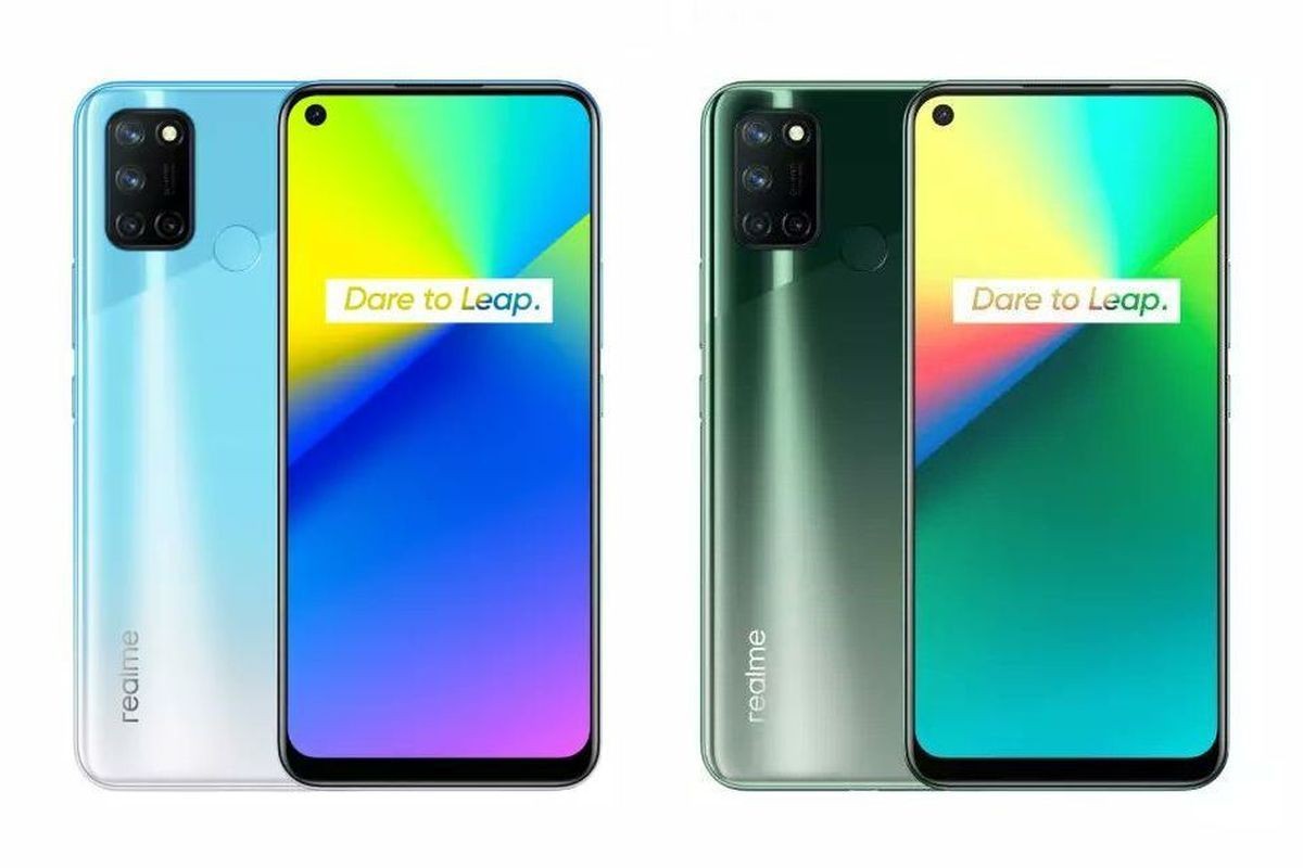 Realme 7i in Fusion Blue and Fusion Green colours