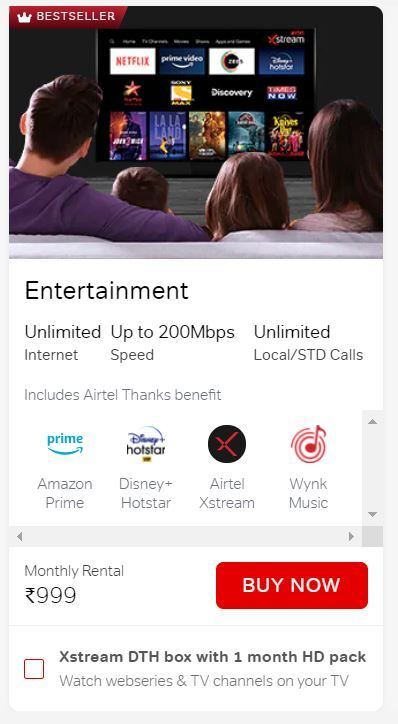 Airtel Xstream Fiber Entertainment Plan is priced at Rs 999 per month