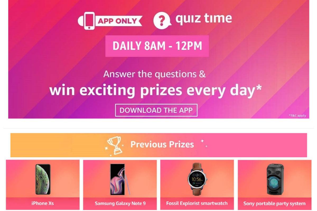 Amazon Daily Quiz, Amazon Daily Quiz Answers