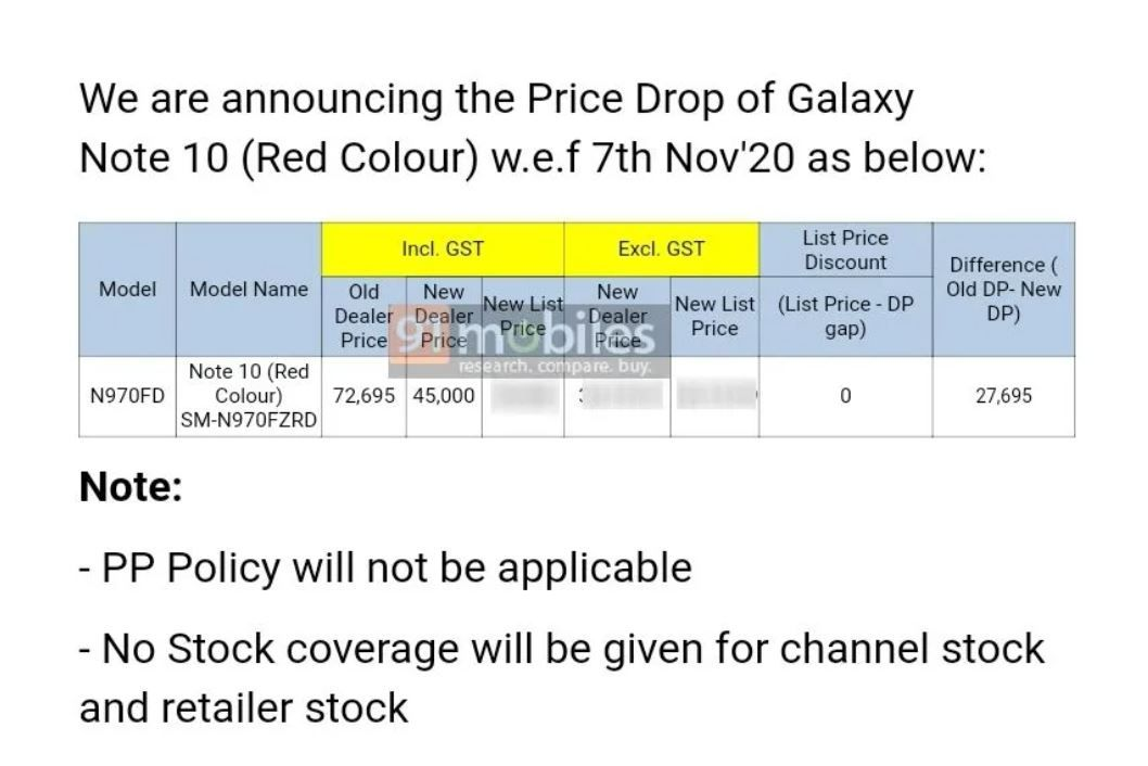 Galaxy Note 10 price drop