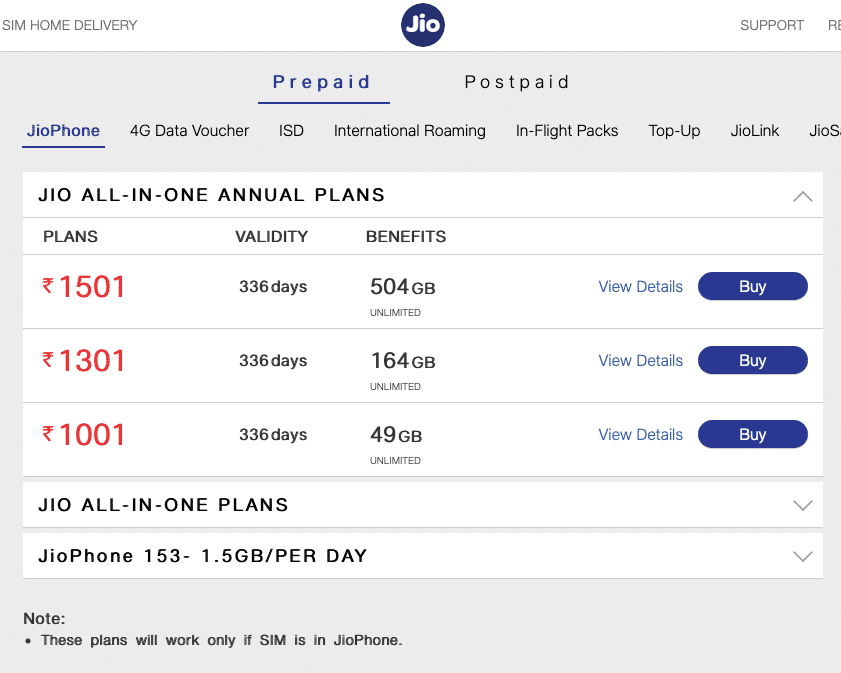 Jio has launched three new All-in-One annual plans for JioPhone users