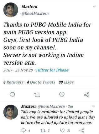 Streamer Maxtern claims PUBG Mobile India is available to select users