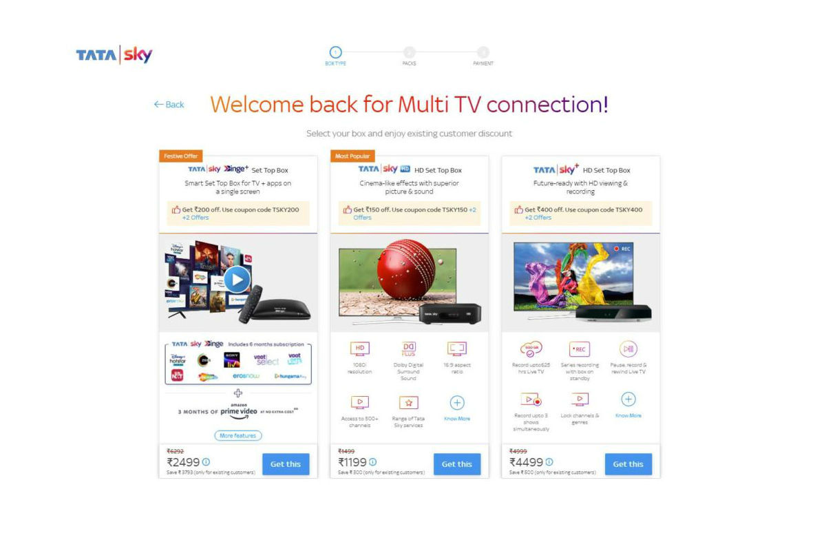 Tata Sky is offering attractive deals on online booking of new set top box connection