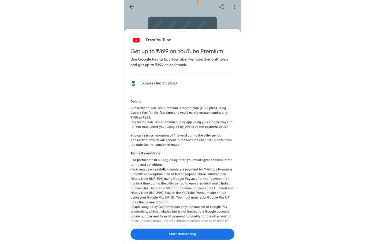 Google Pay YouTube Premium Offer