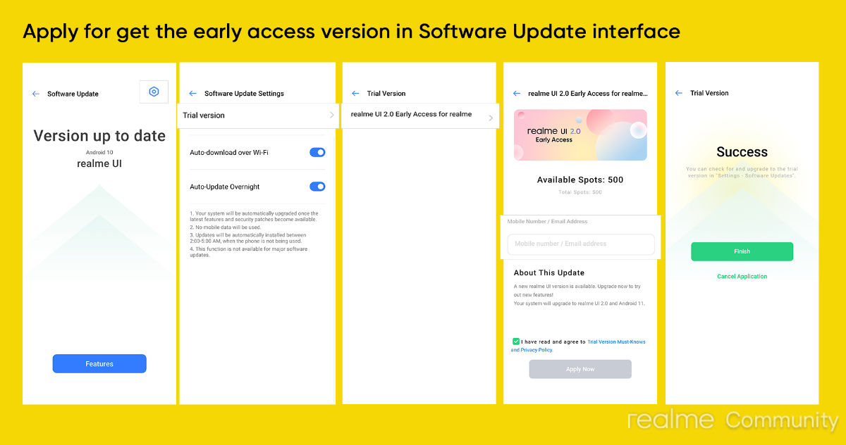 Realme UI 2.0 early access program application process