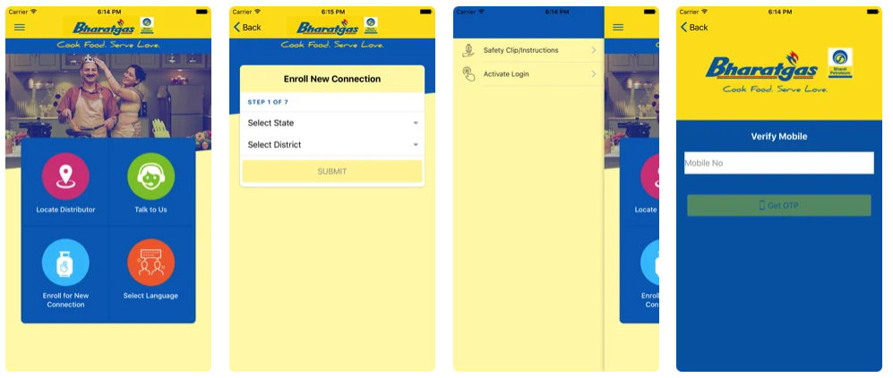 Bharat Gas app is available on both Android and iOS
