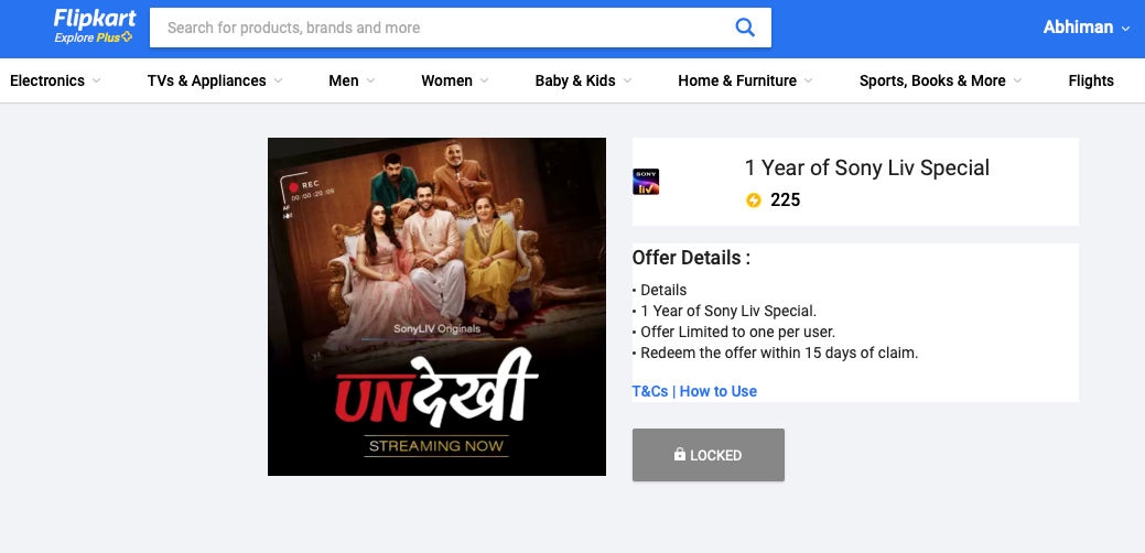 Flipkart is offering Sony Live Special for one year