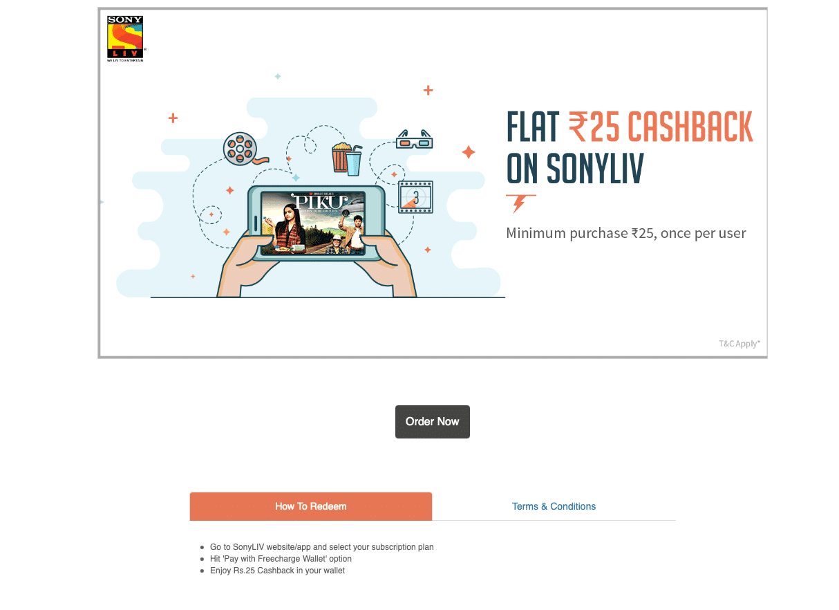 Freecharge is offering flat Rs 25 cashback on Sony LIV subscription purchases