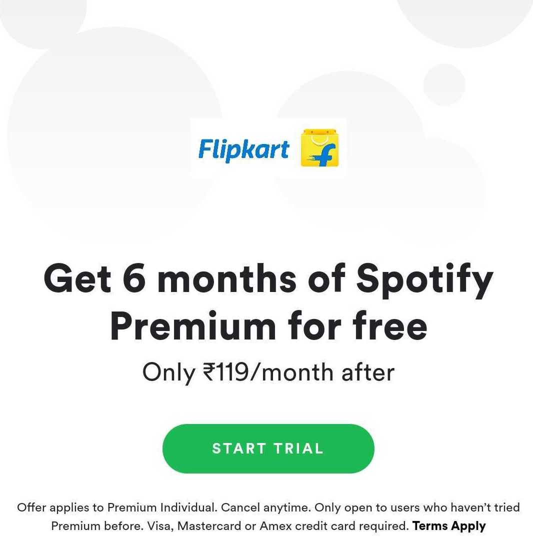 Flipkart is offering up to 6 months of free Spotify Premium trial to its users