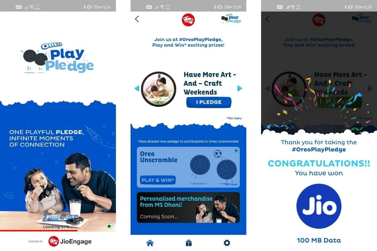 You can win free data vouchers or autographed MS Dhoni merchandise with Jio Oreo Play Pledge offer