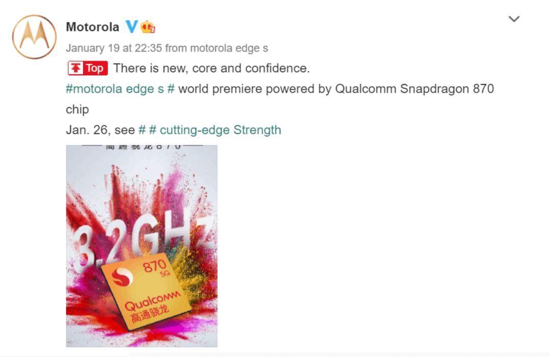 Motorola Edge S launch pster