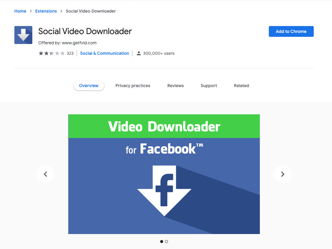 Social Video Downloader is a Chrome Extension for downloading Facebook videos