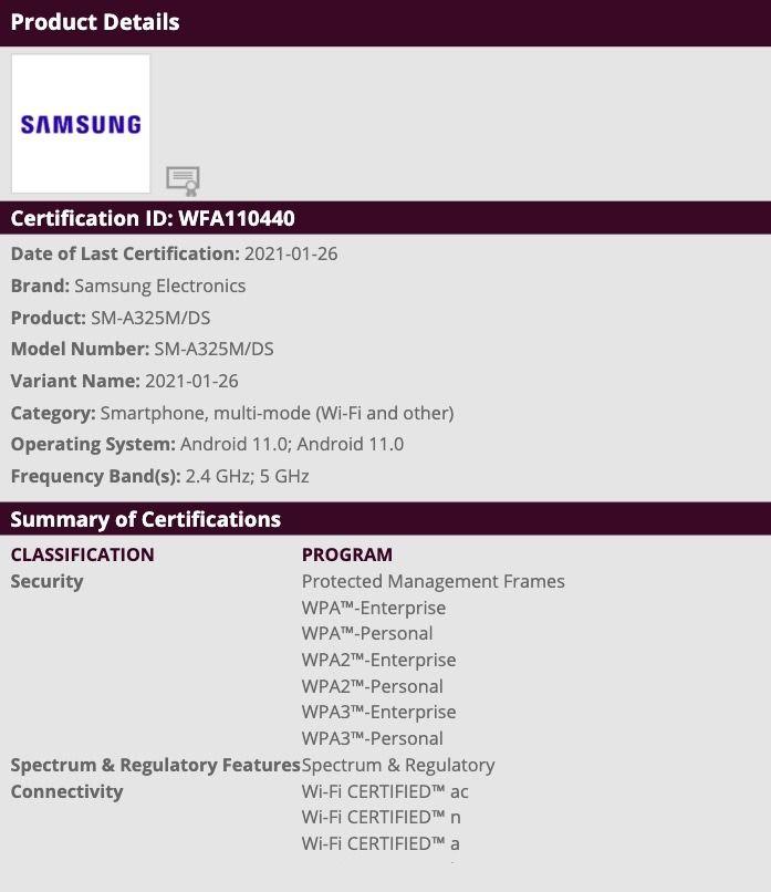 Samsung Galaxy A32 4G Wi-Fi certification