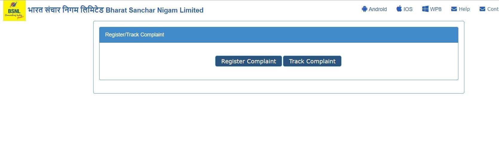 BSNL Selfcare portal register complaint