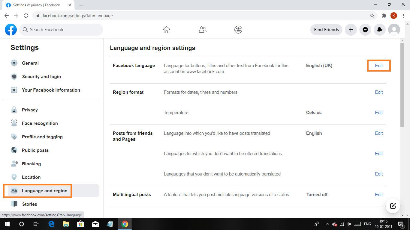 Facebook Language Change