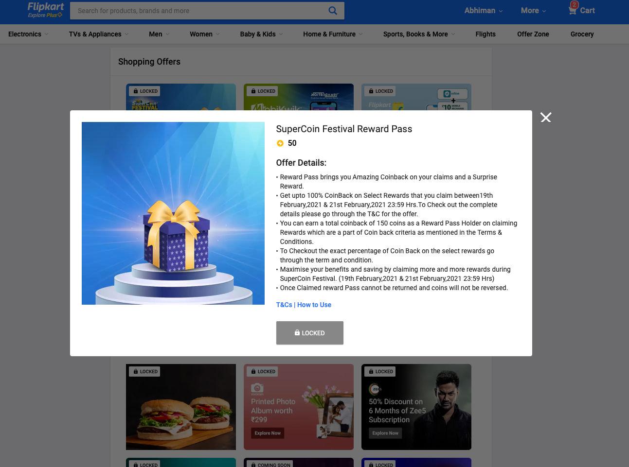 Flipkart Reward Pass offers coin backs on claiming rewards and a surprise reward