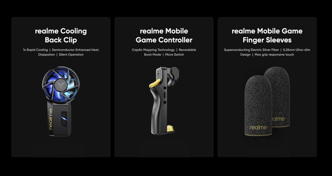 Realme Cooling Back Clip, Mobile Game Controller, and Finger Sleeves