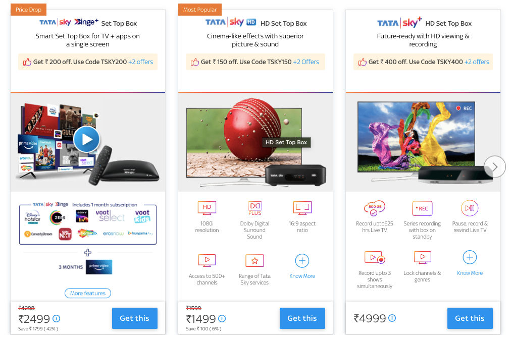Tata Sky has various offers for new set top boxes