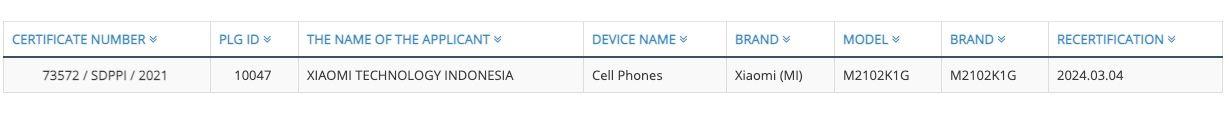 Mi 11 Ultra appears on Indonesia Telecom Certification website