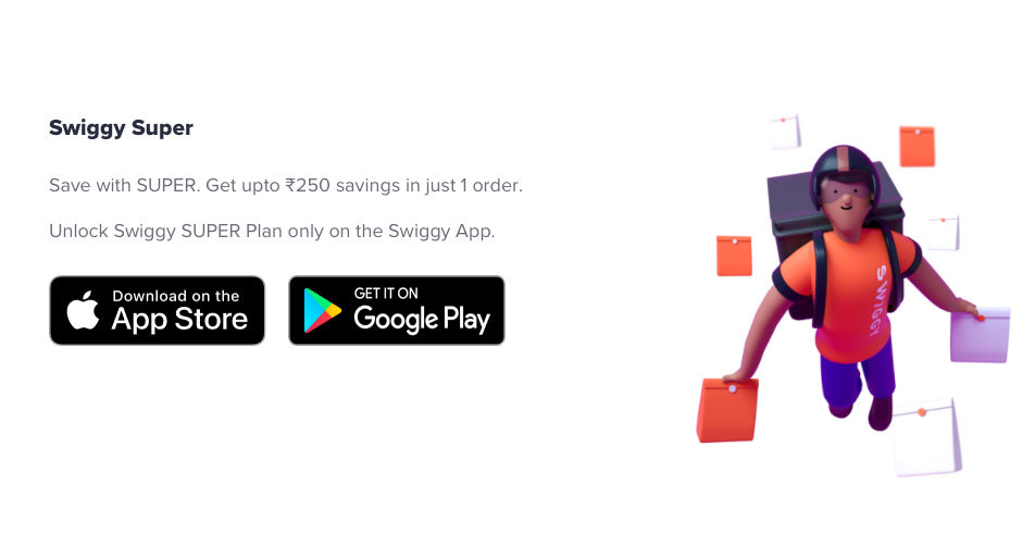 Swiggy Super plans are not applicable on orders placed through a desktop
