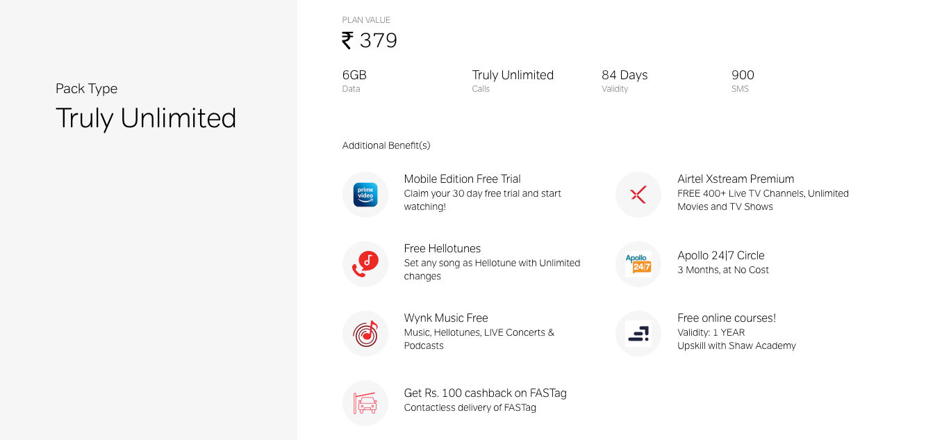 The Airtel Rs 379 prepaid recharge plan offers 6GB data for 84 days