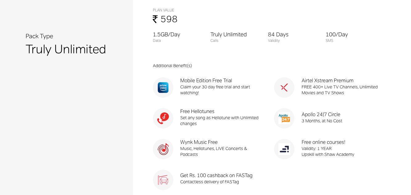 The Airtel Rs 598 prepaid plan offers 1.5GB daily data