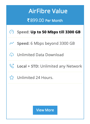 The BSNL Bharat AirFibre plan offers up to 50Mbps data speed
