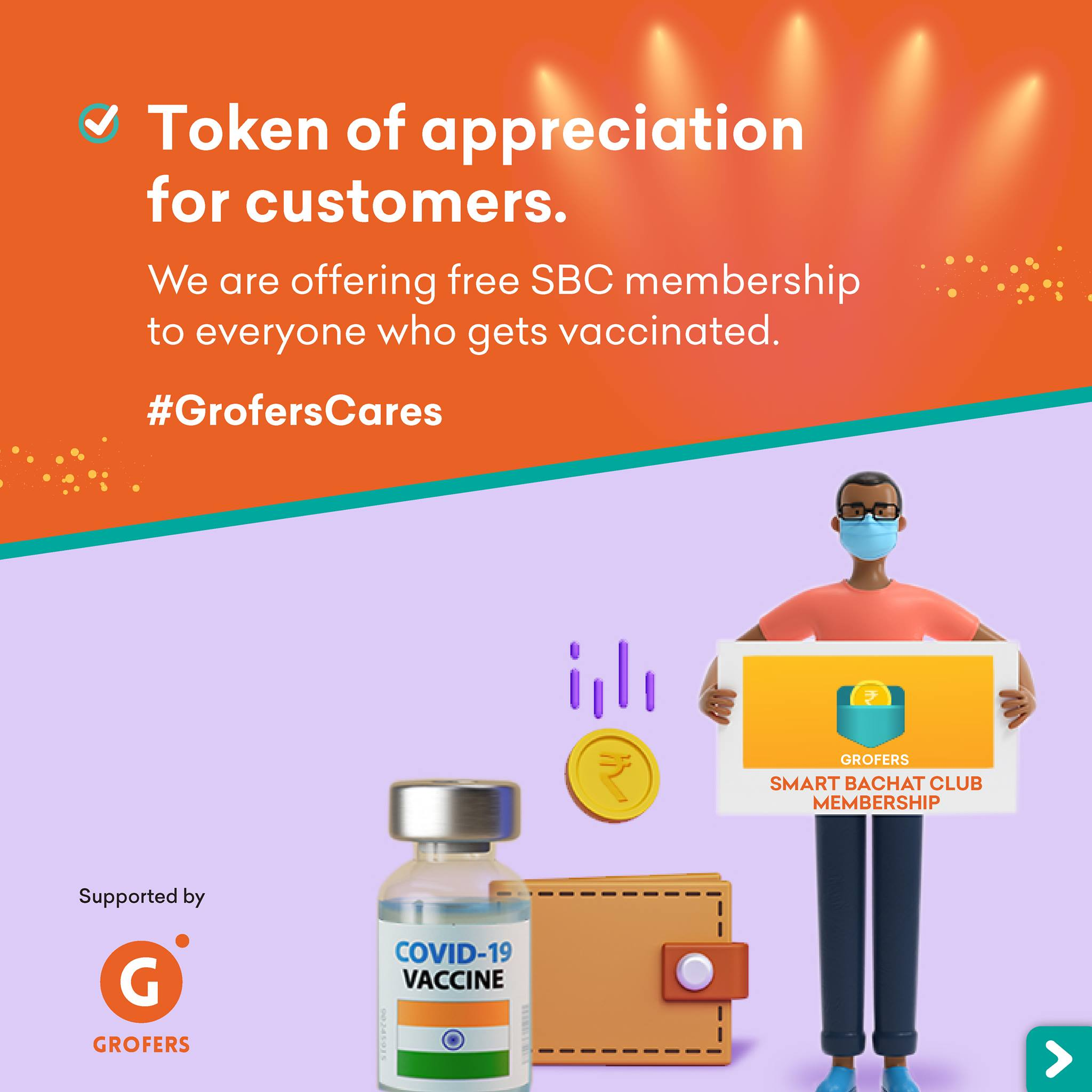 Grofers is offering a month of free SMart Bachat Club Membership to anyone who gets vaccinated