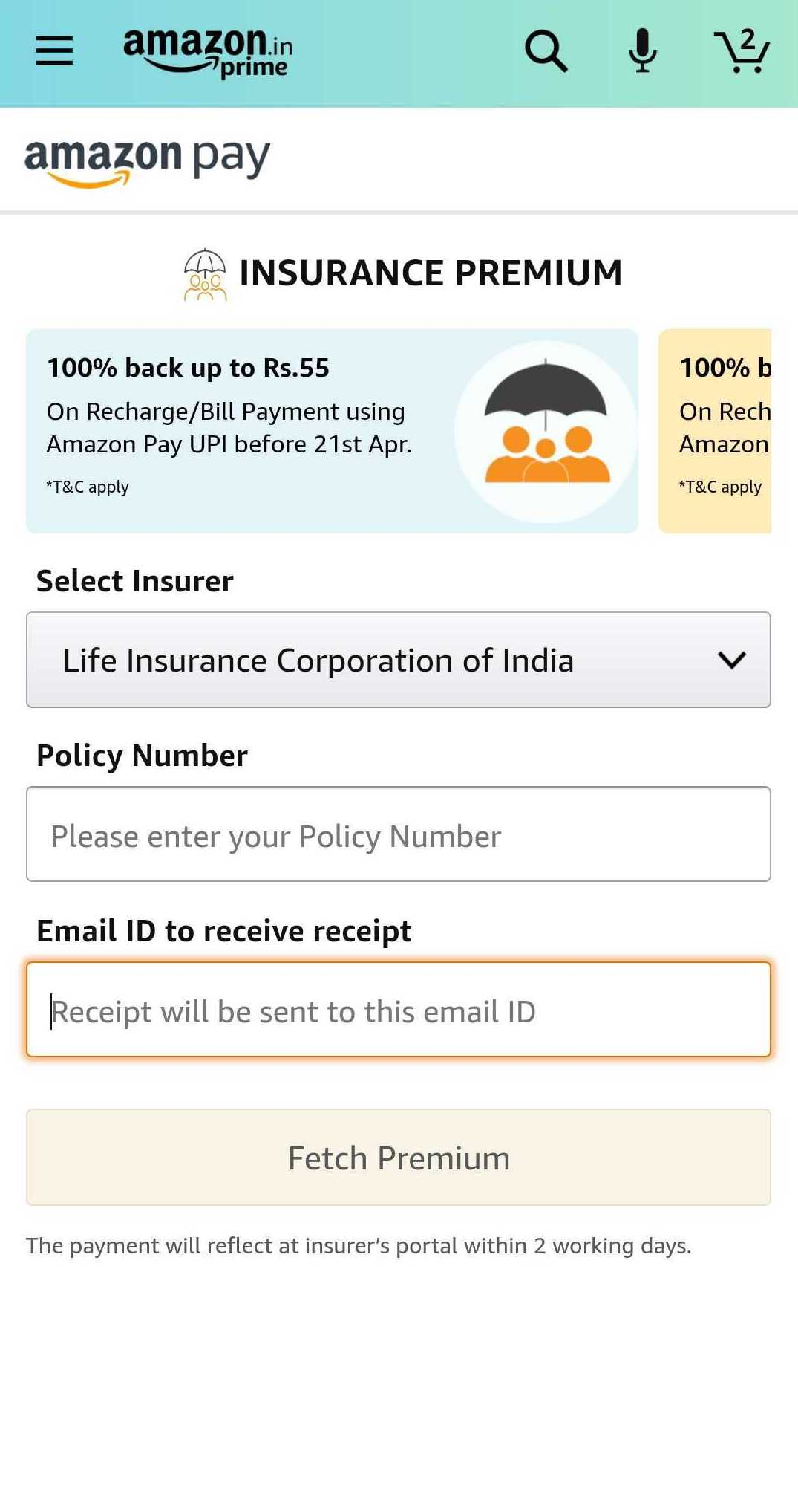 LIC users can pay their premium on Amazon Pay