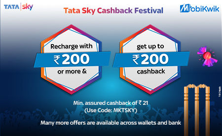 MobiKwik is offering up to Rs 200 cashback on Tata Sky recharges