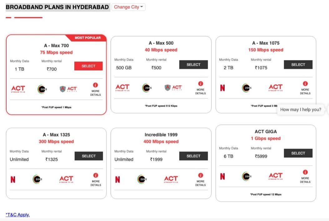 ACT Fibernet offers six broadband plans in Hyderabad
