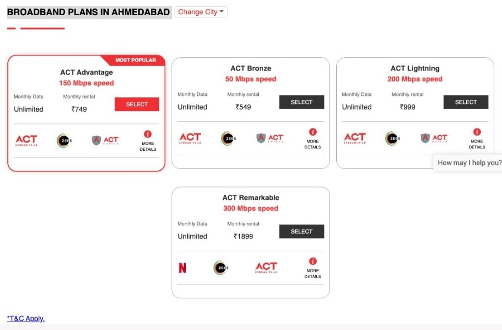 ACT Fibernet offers four broadband plans in Ahmedabad starting from Rs 549