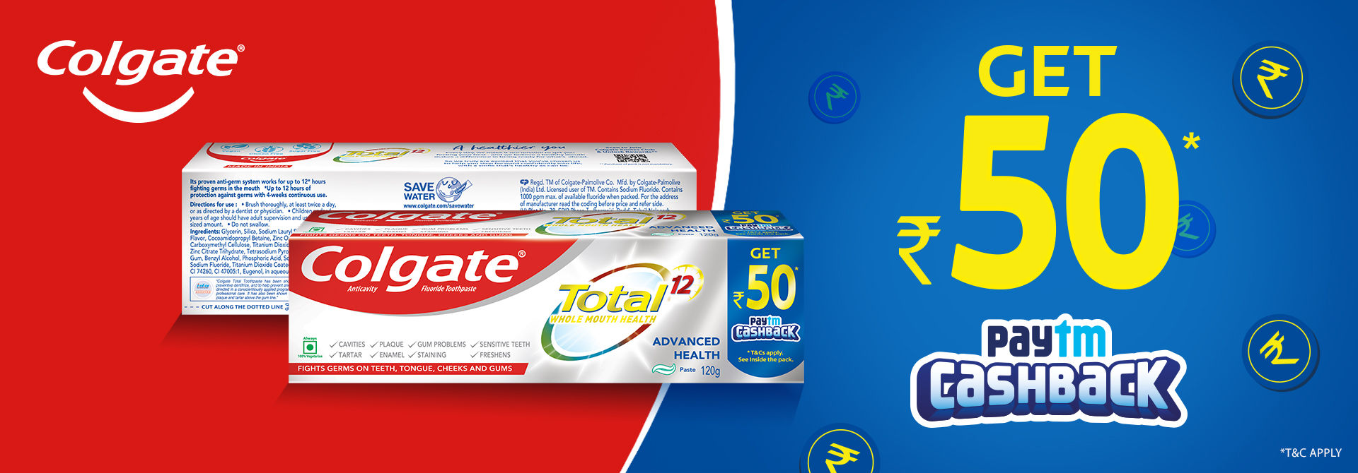 Buy Colgate Total and win an assured Paytm cashback of Rs 50