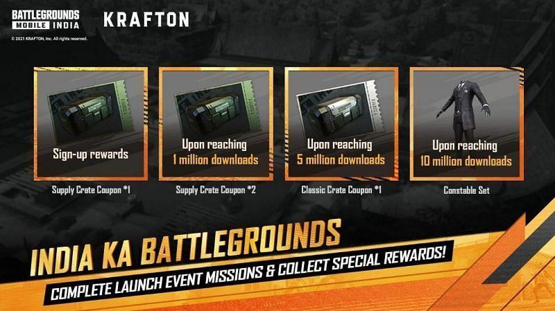 Battlegrounds Mobile India download rewards