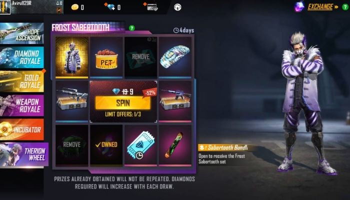 Free Fire Frost Sabertooth