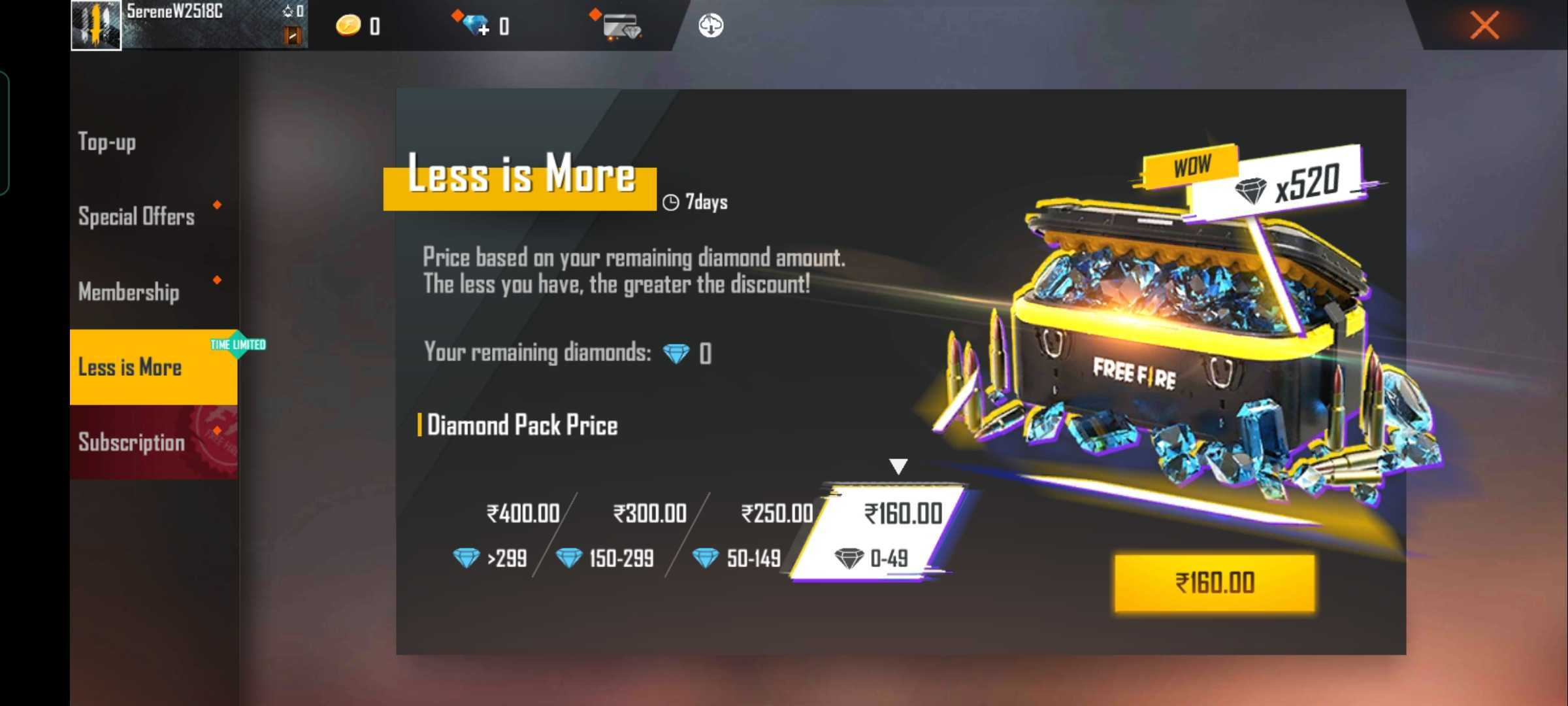 Free Fire Less is More event