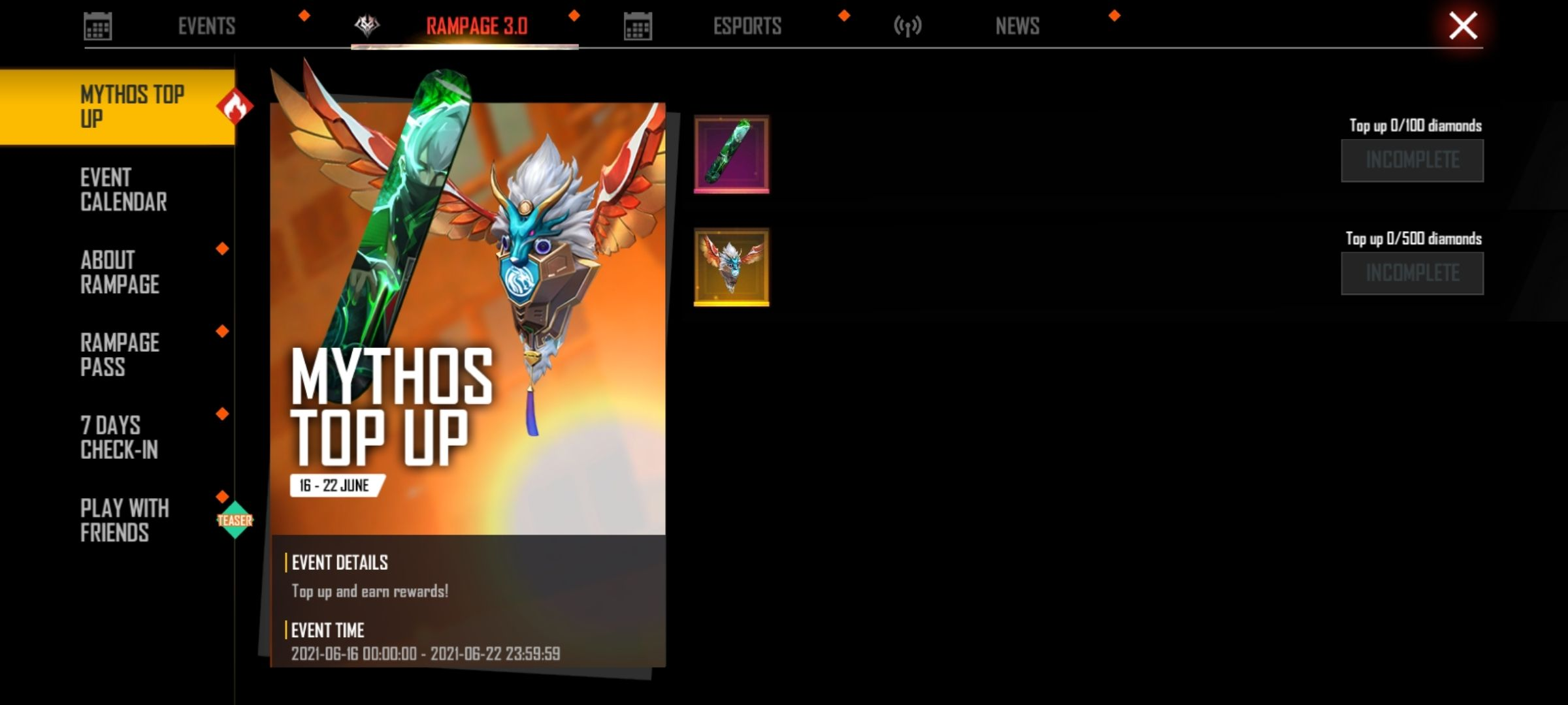 Free Fire Mythos Top Up event