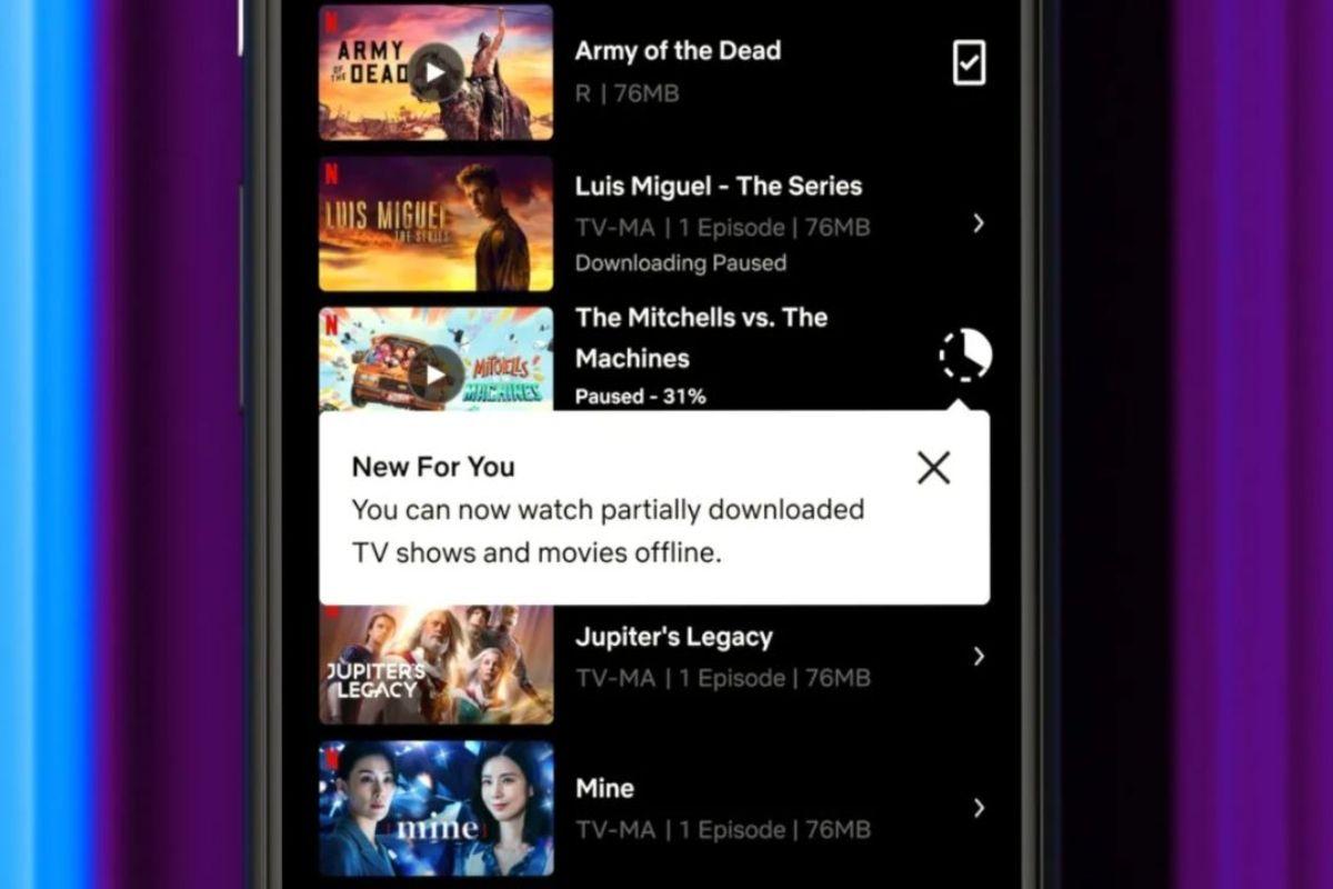 Netflix partial download