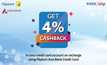 Axis Bank credit card users will get four percent of the transaction amount as cashback on a Tata Sky recharge
