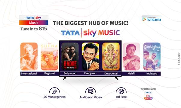 The Tata Sky Music is now priced at Rs 75 per month and offers free Hungama Music Pro worth Rs 99 per month