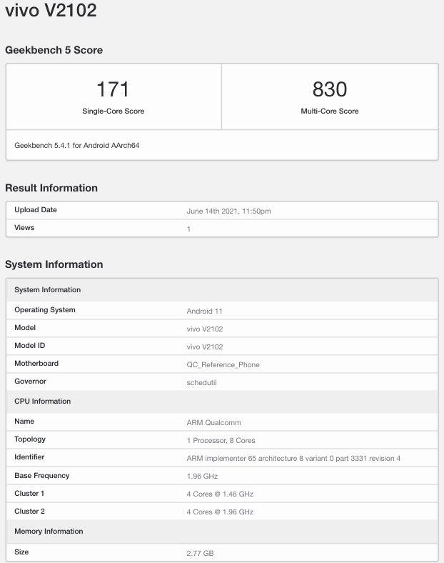 Vivo Y12A (V2102) Geekbench