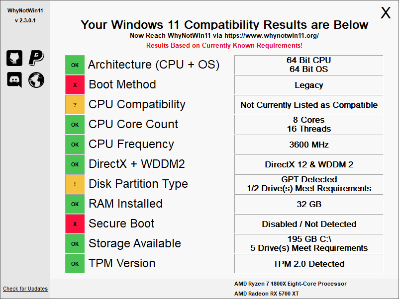 WhyNotWin11 shows the exact reason why your laptop doesn't support Windows 11