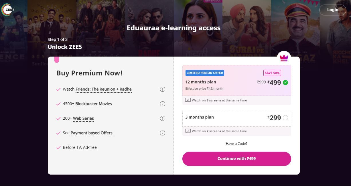 ZEE5 is offering Rs 299 3-month plan and Rs 499 annual plan
