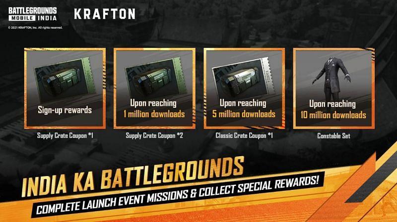 Battlegrounds Mobile India rewards