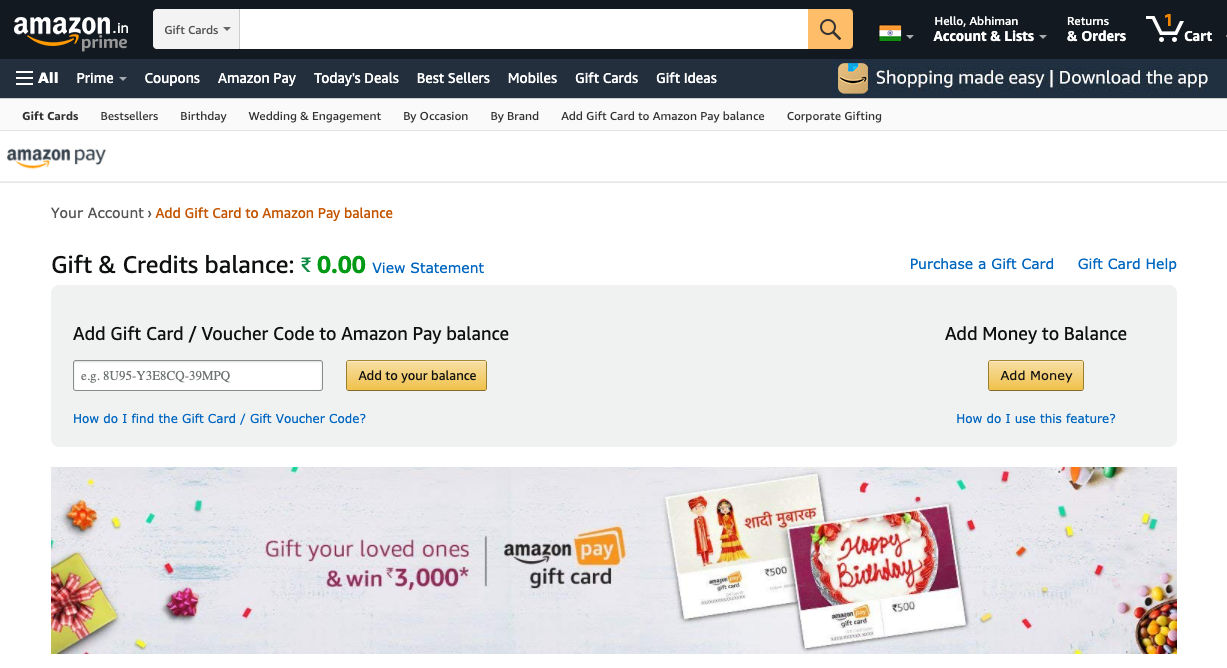 Amazon Pay Gift Card can easily be redeemed on the website