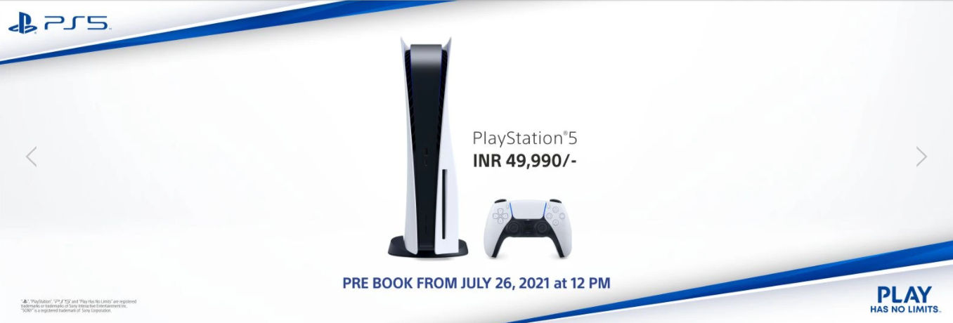 Next PS5 pre-booking in India starts July 26th at 12pm