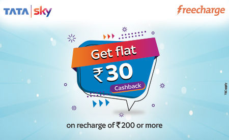 Freecharge users can avail flat Rs 30 cashback on Tata Sky recharge of Rs 200 or more