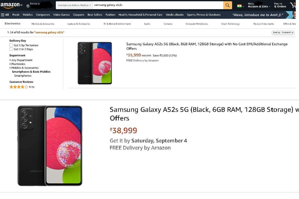 Samsung Galaxy A52s 5G Amazon listing