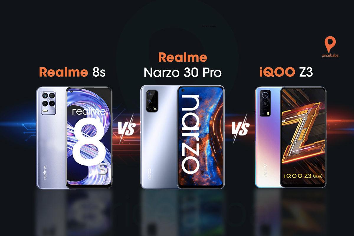Realme 8s vs Realme Narzo 30 Pro vs iQOO Z3 800