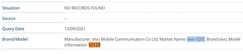 Vivo Y20T (V2129) IMEI database listing